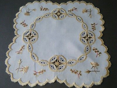 ANTIQUE SOCIETY DOILY silk  emb/red roses drawn lace work festooned hand done