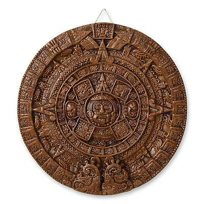 Aztec Calendar Plaque Museum Replica Wall Art Sun Stone Sculpture NOVICA Mexico