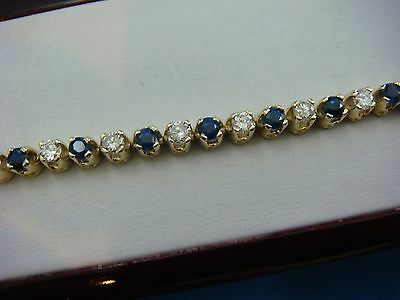 "5 Carat Genuine Sapphires And Diamonds Tennis Bracelet 14K Yellow Gold, 7"" Long"