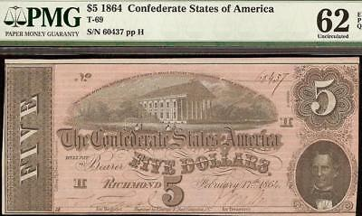 Unc 1864 $5 Dollar Bill Confederate States Currency Civil War Note T-69 Pmg 62