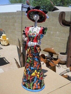 SIGNED Talavera BUTTERFLY Cantrina girl statue Mexican folk art Day of the Dead