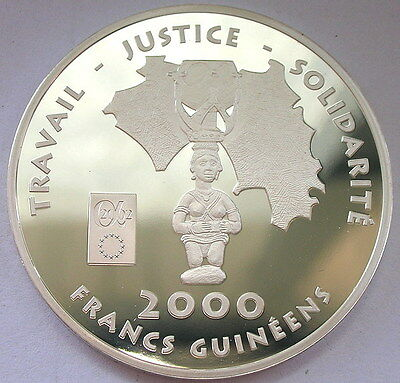 Guinea 2002 Totem Map 2000 Francs Silver Coin,Proof,Rare!