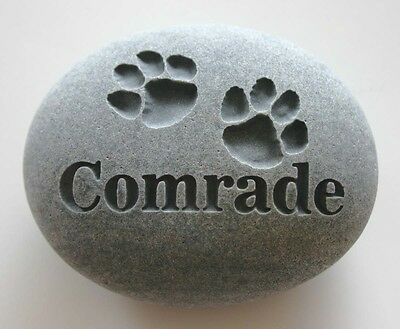 Paw Prints Pet Memorial Custom Engraved Memorial Stone Pet Loss Personalized