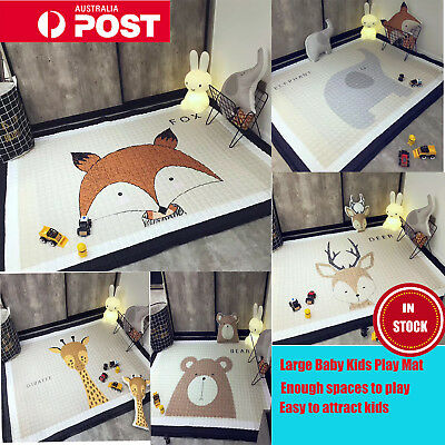 195x145CM Large Big Soft Rectangle Baby Kids Play Mat Floor Rug Crawling Blanket