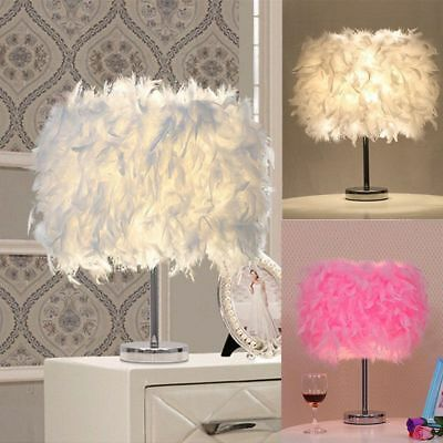 Hot Feather Shade Metal Vintage Elegant Table Lamp Bedside Desk Night Light Cafe
