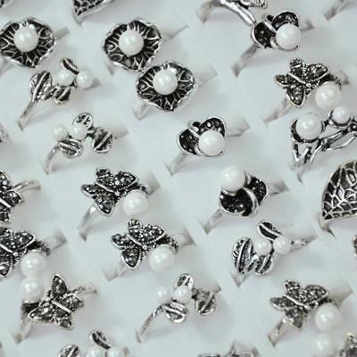 50Pcs Vintage Bead Ancient Silver Plated Rings Women Rings Wholesale Jewelry BFP