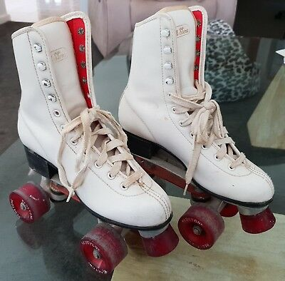 Vintage Retro 1970s Red Stone Roller Skates White Boot Red Wheels Europe Size 36
