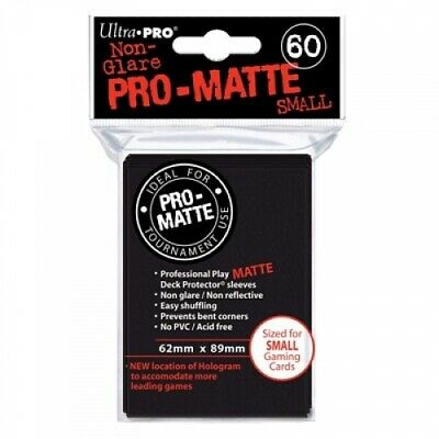 ULTRA PRO 60 PRO MATTE-SMALL SIZE BLACK DECK PROTECTOR SLEEVES 84021 fit YuGiOh
