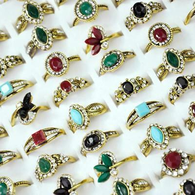 50Pcs Acrylic Ancient Copper Plated Rings Rhinestone Women Wholesale Jewelry BFP