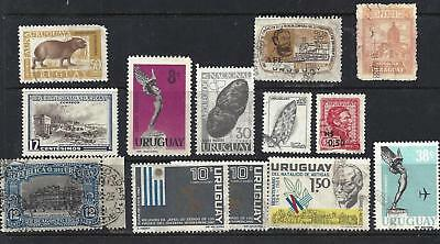 Lot of 13 URUGUAY used stamps  -  EARLY AND RECENT