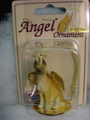 GREAT DANE fawn brown DOG ANGEL Ornament HAND PAINTED Resin Figurine CROPPED