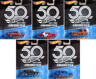 50th Anniversary Premium Collector Favorites Set 5 Modelle 1:64 Hot Wheels FLF35