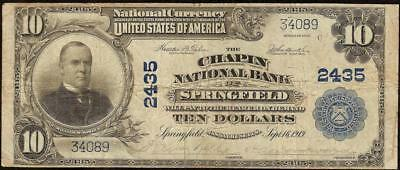 Large 1902 $10 Dollar Bill Chapin National Bank Note Currency Springfield