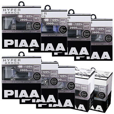 PIAA Hyper Arros Car Bulbs H1 H3 H4 H7 H8 H9 H11 H13 HB3 HB4 HIR2 Fittings