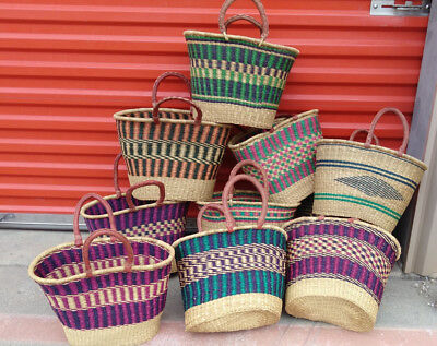 CLEARANCE, LOT OF 10 ! AUTHENTHIC Ghana BOLGA Market Basket w/ Leather Handle