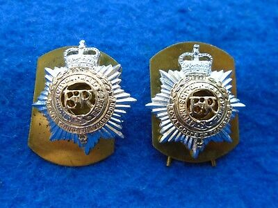 Pair Of Royal Corps Of Transport, Rct, Anodised Collar Badges + Plates & Pins