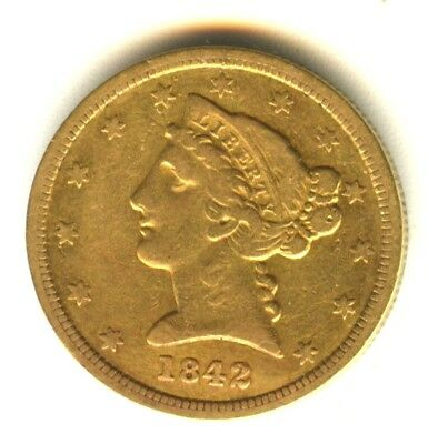 1842 O Liberty Head Half Eagle VF++ 100% Orig Early Gold Type Coin New Orleans