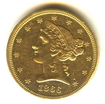 1866 S Liberty Head Half Eagle AU++ Early Gold Type Coin San Francisco Gold