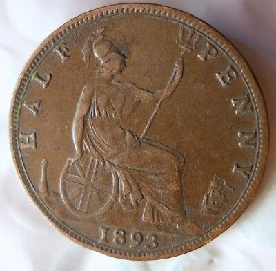 1893 GREAT BRITAIN 1/2 PENNY - Excellent Coin - FREE SHIP- Britain Bin #A