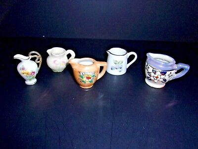 Vintage Miniature Glass Ceramic Pitchers Creamers Collectibles Lot Of 5
