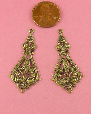 Beautiful Antique Brass Filigree Earring Drops - 2 Pcs