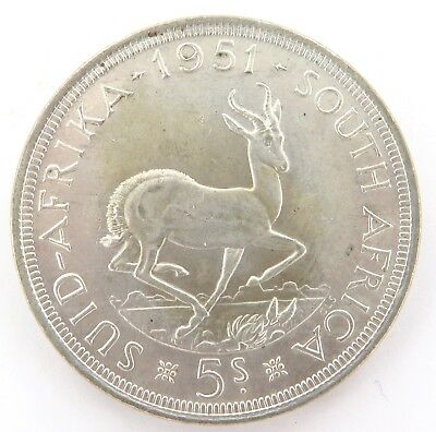 South Africa 1951. High Grade 5 Shillings Silver Coin.