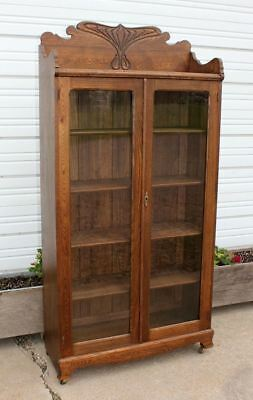 Antique Solid Wood 2 Door Bookcase Showcase Chittenden & Eastman Burlington Iowa