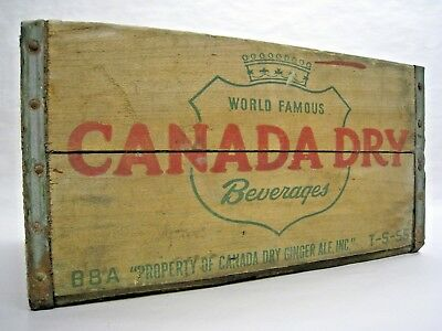 Vintage 1955 Canada Dry Ginger Ale Wooden or Wood Shipping Crate Treen Box Co.