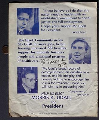 Congressman-NBA Star 1976 Mo Udall for President signed campaign brochure #THREE
