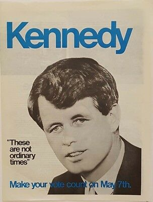 1968 Robert Kennedy For President Indiana Campaign Large Collectible
