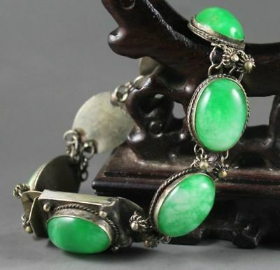 natural green jade bracelet with beautiful Chinese jade beads bangle