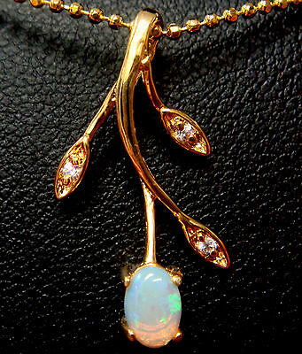 Australian Natural Solid Crystal Opal Pendant Solid Silver