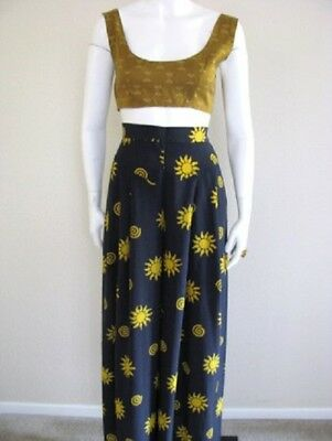 Vintage SUN Italian Navy SILK Trousers Flowy Wide Leg Palazzo Pants High Waist