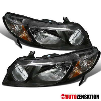Fits 2006-2011 Honda Civic 4Dr Sedan Replacement JDM Black Headlights Lamps Pair