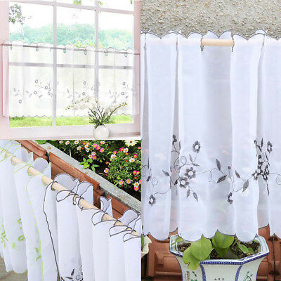 Embroidered Eyelet Cafe Valance Half-curtain for Home Kitchen Window Decor