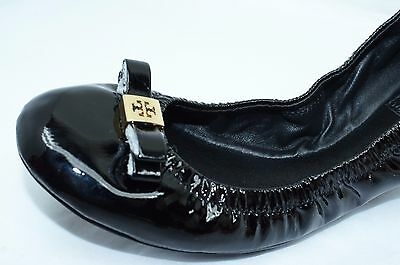 9f353be863f NEW TORY BURCH Eddie Shoes Flats Black Size 6 Leather Ballet Logo ...
