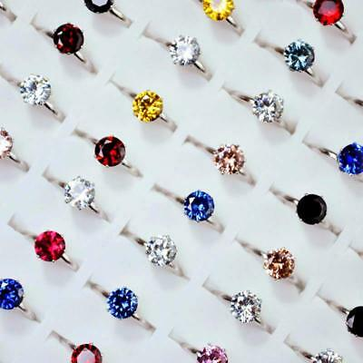 15Pcs MIx Color Zircon Crystals Silver Rings Women Rings Wholesale Jewelry BFP