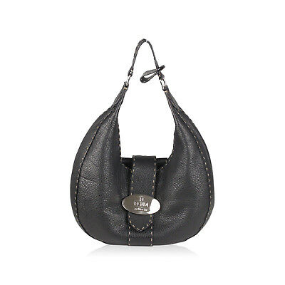 ed2e2dcf9dad Authentic Fendi Selleria Black Leather Hobo Shoulder Bag Handbag Made in  Italy