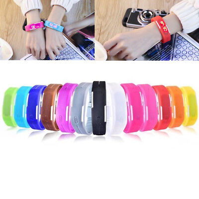 Fashion Digital LED Touch Screen Sport Silicone Couple Bracelet Wrist Watch Gift