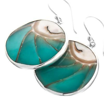 """1 1/8"""" ROUND TURQUOISE BLUE OPEN CHAMBER NAUTILUS STERLING SILVER earrings"""