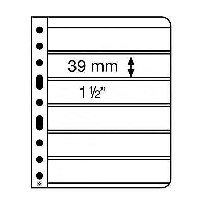 Vario Black 6S Stamp Sheets with 6 pockets per side 39x195mm - pk 5