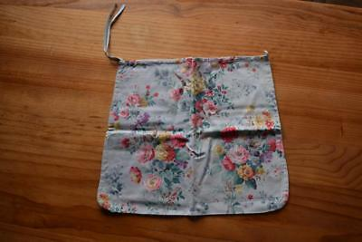 Vintage Peg/Drawstring Bag in Old Fashioned Blue Floral Fabric - Handmade 1940's