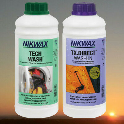 Nikwax Tech Wash und TX Direct Wash-In je 1 Liter (2 x 1000ml)