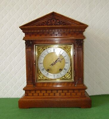 ANTIQUE BRACKET CLOCK CARVED OAK ARCHITECTURAL CASE TING TANG CHIME W&H c1890