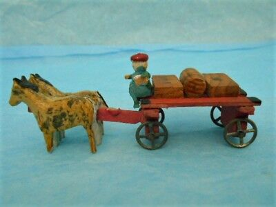 Antique Erzgebirge Wood German Putz Penny Toy Wagon With Parcels, Driver, Horses