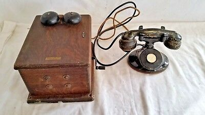 Antique 1939 Western Electric Table Desk Phone W/ Hand Crank Oak Box Ringer USA