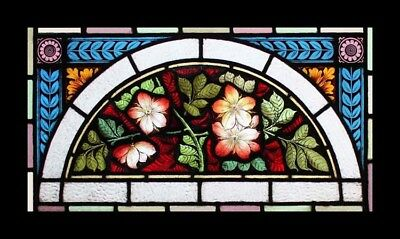 Stunning Rare & Very Beautiful Painted Lillies Antique Stained Glass Window