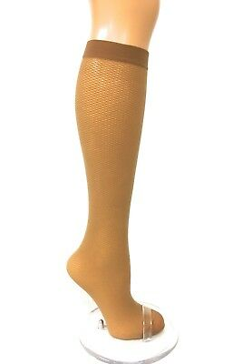 2 Pairs Girls Women Natural brown Knee High Fishnet Pattern Pop Socks 60 den P1
