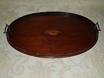 Antique Edwardian Oval Inlaid Mahogany Serving Tray With Brass Handles