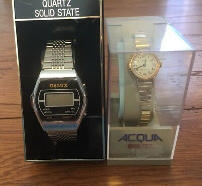 Lot of 2 Vintage NOS Watches Galux Hong Kong & Acqua Both Need Batteries (Z)